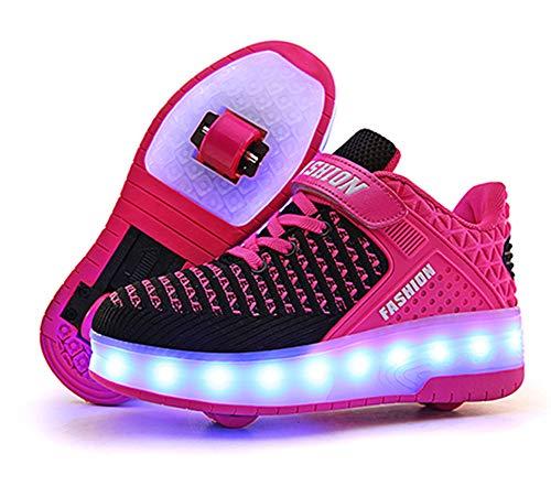 Lovelysi Unisex Jungen Mädchen LED Licht Skateboardschuhe mit Rollen Drucktaste Einstellbare Rollerblades,USB Wiederaufladbar,Inline Skates,Outdoor Sport Gymnastik Running Sneaker