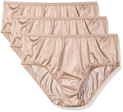 Shadowline Women's Plus-Size Panties-Nylon Hipster (3 Pack), Nude, 8