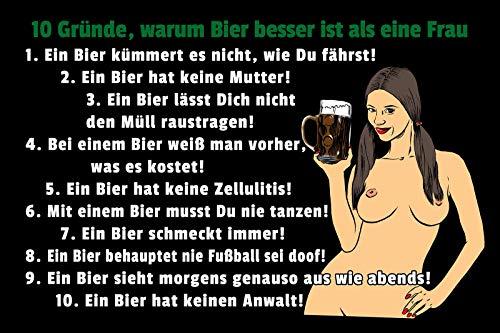 10 Gründe warum Bier besser ist als Frau Pin Up Girl Cartoon Blechschild Metallschild Schild gewölbt Metal Tin Sign 20 x 30 cm
