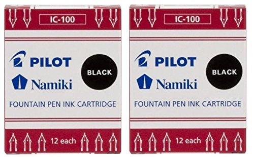 Pilot Namiki IC100 - Cartucho de tinta para pluma estilográfica, color negro, 12 cartuchos por paquete (paquete de 2)