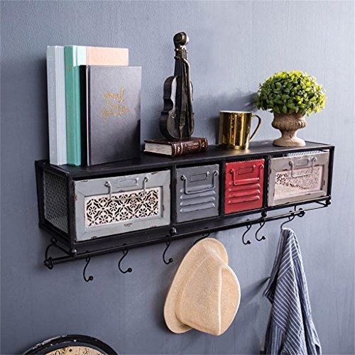 Vintage Industrial Style Wandregal Metall Eisen mit Schubladen LOFT Wandbehang Cube Regal als Bücherregal Lagerregal Floating Unit Rahmen (71cmX17cmX21cm) Haltbar