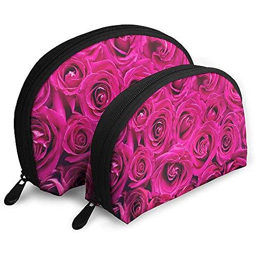 Pink Rose Pink Bolsas portátiles románticas Bolsa de Maquillaje Bolsa de Aseo, Bolsas de Viaje portátiles multifunción Bolsa de Embrague de Maquillaje pequeña con Cremallera