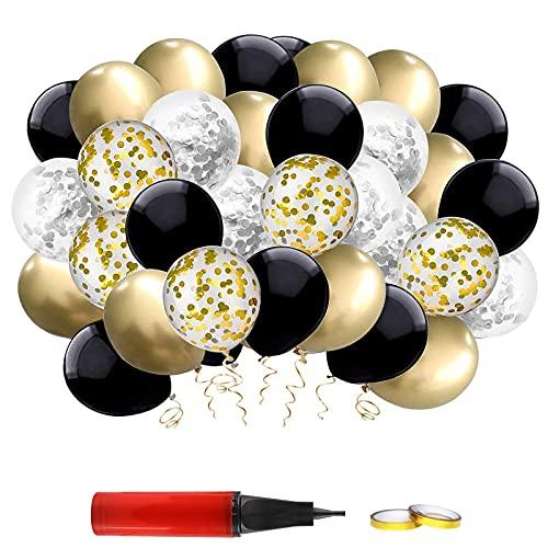 Xhuidz Globos Metalizados Dorados y Latex Blancos,Globos Cumpleaños Oro Negro,Decoraciones Cumpleaños Oro Negro, para Hombres y Mujeres Adultos 18th 21st 30th 40th 50th 60th Cumpleaños Decoració