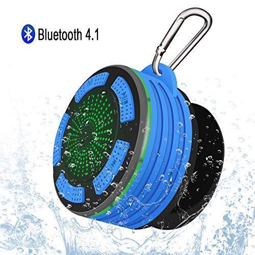 Altavoz Bluetooth Portátiles, Alitoo Inalámbrico Ducha Impermeable Speaker con LED Ventosa y Gancho, Micrófono Integrado, HiFi Estéreo Sonido Bass para Playa, Baño, Viaje, Outdoor y más(Azul)