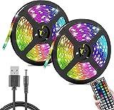 Tira de luz LED, Luz RGB LED con 44 Control Remoto IR Clave y Cable de Alimentación usb 5A, Multicolor SMD 3528 Luces LED para el Hogar, Fiesta, TV etc (20m)