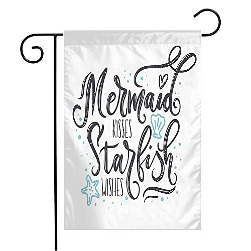 Anmbsk Garden Flag Yard Decorations Mermaid Kisses Travel Wave Born Starfish Wishes Quote Hand Design Abstract Poster Shirt Elements Outdoor Small Polyester Flag Double Sided 12' x 18'