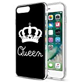 Eouine Funda para iPhone 6s Plus, Fundas para iPhone 6 Plus, Cárcasa Silicona 3D con King Queen Dibujos Impresión Patrón Case Fundas para Movil para iPhone 6sPlus / 6Plus 5.5 Pulgadas (Queen, Blanco)