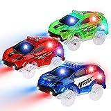 PROACC 3 Pezzi Track Cars Trasparente Auto Giocattolo per Bambini Pista Macchinine Auto Luminose per Magic Tracks Bagliore nel Buio Traccia per Ragazzo Ragazza (Auto SUV)