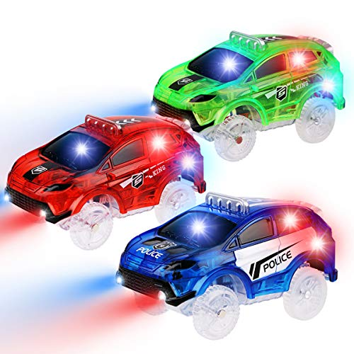 PROACC 3 pièces Voiture de Course Transparent avec 5 lumières Clignotantes LED Jouets Magiques Voitures Lumineuses pour Magic Tracks Cadeau pour Les Enfants 3 4 5 6 7