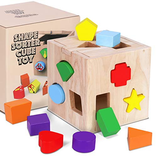 Cubic Shape Sorter Giocattolo di Legno, Montessori Educativi Precoci Della Cognizione del Gioco di Scatola da Costruzione a Forma Animale Color Geometrica a 12 Fori, Regalo per Bambini da 1 a 3 Anni