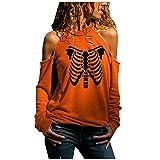 Halloween Sweatshirts for Women,Womens Ghost Pumpkin Print Long Sleeve Sweatshirt Pullover Sweater Tops Blouse Skull Hoodies Pullover Shirts On Cute Clothing Sunflower Skirt