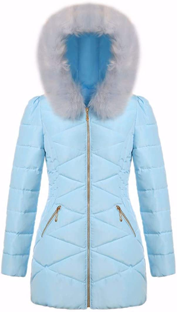 Mid-Length Down Coat Thickened Windproof Portable Slim with Faux Fur Trim Hood Big PocketDown Jacket