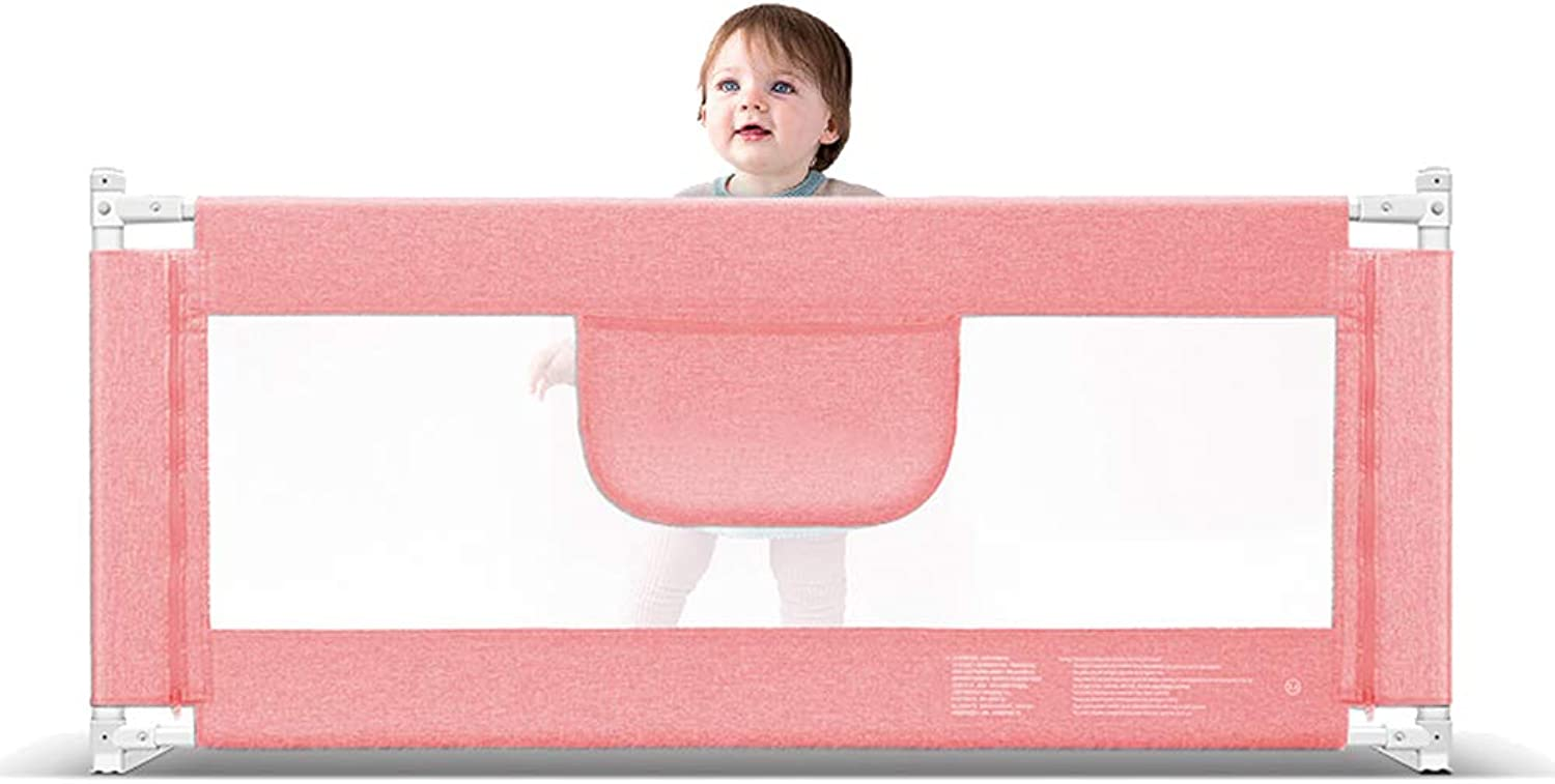 Portable and Steady Bed Guard Baby Safety Bed Rail Extra Wide Folding Mesh Rail,Large 120-220cm, Pink, Height 85cm (Size   120CM)