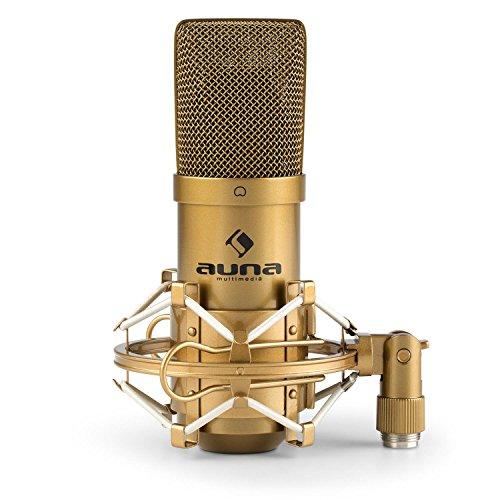 """auna MIC-900G - USB Kondensator-Mikrofon, Nierencharakteristik, Metallgehäuse, Frequenzbereich: 30Hz - 18kHz, Plug & Play, Mikrofonspinne mit 3/8\"""" zu 5/8\"""" Gewinde-Adapter, Schutztasche, gold"""