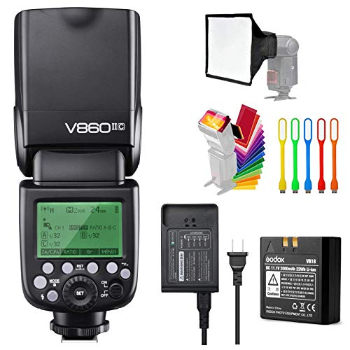 Godox V860II-C E-TTL HSS 1/8000s 2.4G GN60 Li-ion Battery Camera Flash Speedlite Light Compatible for Canon EOS Cameras with USB LED