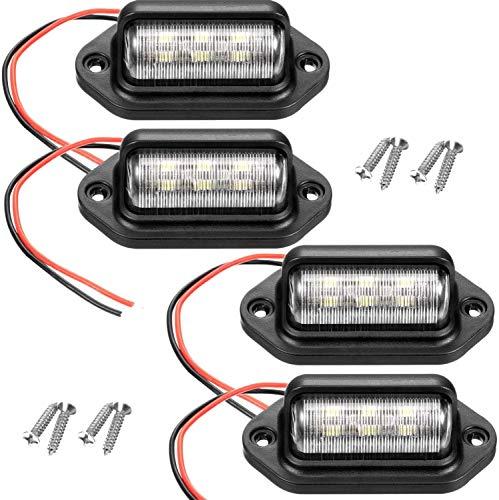 Pestelle 4 Piezas 12V 6 SMD LED Luz de Placa de MatríCula Exterior Luz de MatríCula Impermeable LáMpara de Luz Trasera para Coche CamióN RV Remolque Barco