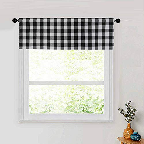 NATUS WEAVER Window Curtain Valances 18 inches Long Living Room Bedroom 1 Panel Buffalo Check Small Valance Curtain Rod Pocket Classic Country Farmhouse - Black & White