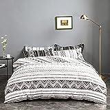 Juego de ropa de cama Mitchell, 200 x 220 cm, 3 piezas, color blanco y negro, bohemio, geométrico, reversible, funda nórdica con cremallera y 2 fundas de almohada de 80 x 80 cm