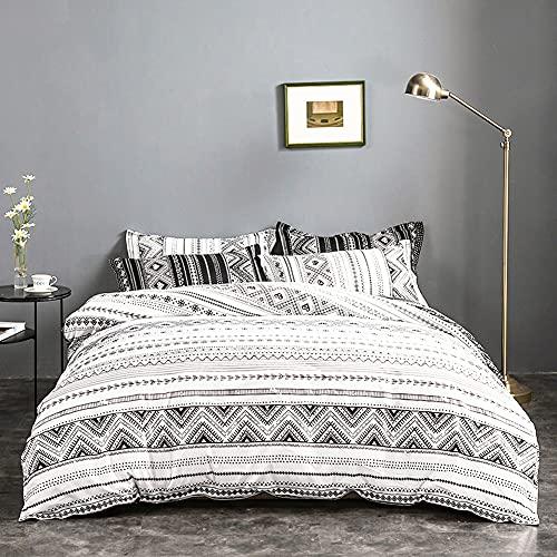 Xiongfeng Juego de ropa de cama Mitchell, 135 x 200 cm, color blanco y negro, bohemio, geométrico, reversible, funda nórdica con cremallera y funda de almohada de 80 x 80 cm