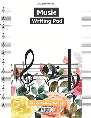 Music Writing Pad Colorful rose background with watercolors cover, 12 staves per page, 100 pages - Large(8.5 x 11 inches)