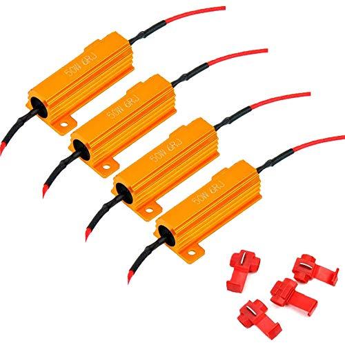 ALOPEE 4 Pack de 50 W 6ohm Résistance de Charge pour LED Clignotant Lumière (Fix Hyper Flash, Avertissement Canceller, Fix Error Presque Flash) avec 4pcs Quick Wire Clip