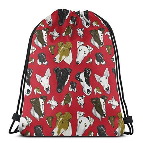asdew987 Mochila con cordón para hombre, diseño de perros rojos