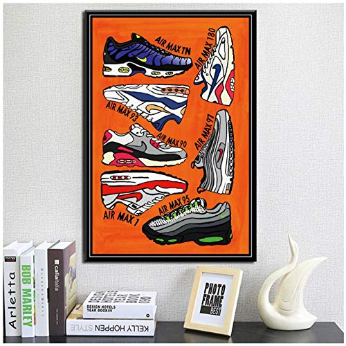 Sneakers Mode Schoenen AJ Verhaal Air Max Art Schilderen Zijde Canvas Poster muur Home Decor- 50x70cm geen Frame