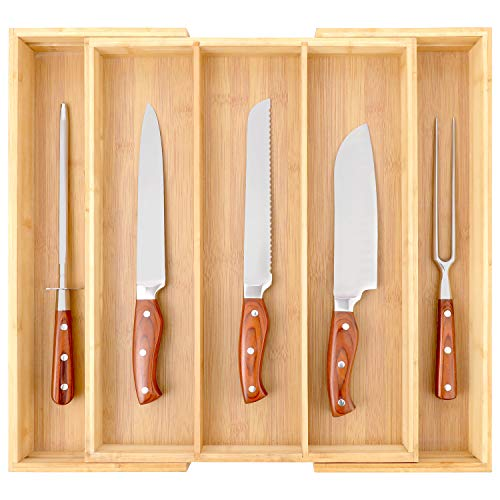 ORAF Organizador de cajones de cocina, de bambú, extensible, organizador de cubiertos y cubiertos y bandeja para cubiertos