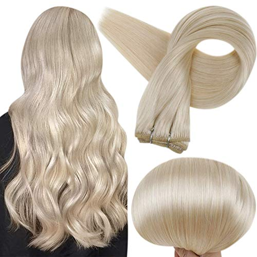 Full Shine Human Hair Weft Extensions Remy, Double Wefted Straight Hair Weft Bundle Color 60 Platinum Blonde 100 Gram Per Set 24 Inch