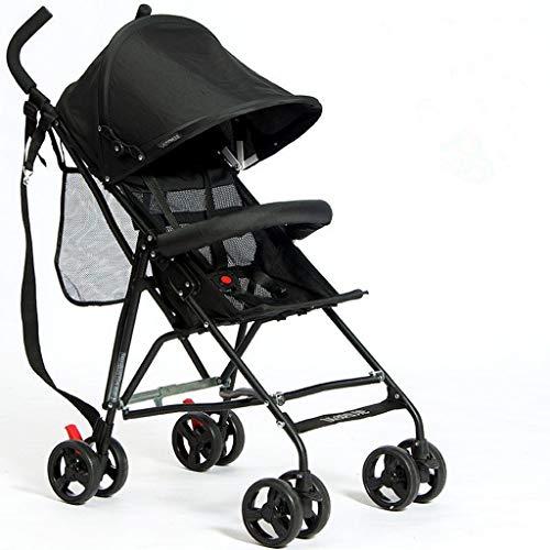 Lichtgewicht wandelwagen, draagbare paraplu, baby reizen vouwfiets, kleine wandelwagen, kan worden op het vliegtuig ademende auto Zwart