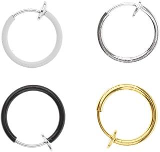 Baosity 4pcs Punk Clip On Fake Nose Lip Hoop Rings Earrings Non Piercing Jewelry