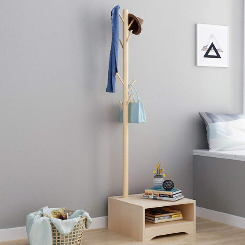 Coat rack hanger European coat rack bedroom hanger floor solid wood creative coat rack + cabinet for Garage Foyer Bedroom Office 170CM (H) (Size   E)