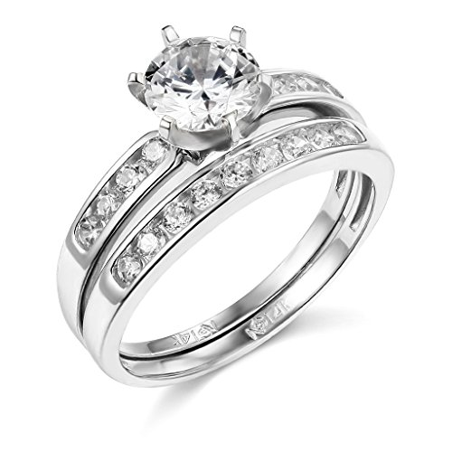 TWJC 14k White Gold Solid Wedding Engagement Ring and Wedding Band 2 Piece Set - Size 7
