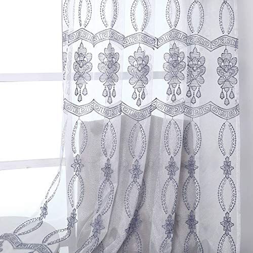 Jiyoyo Embroidered Violet Sheer Curtain for Parlor Window Curtain Treatment Rod Pocket Drape Panel Voile Living Room(1 Panel, W 50 x L 95 inch, White Bottom + Blue-Gray Sliver Embroidery)