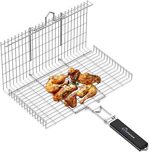 WolfWise Portable Grilling Basket BBQ Barbecue Tool Work for Fish Vegetable Steak Meat Shrimp Chops,Made of Durable 430 Stainless Steel,Large