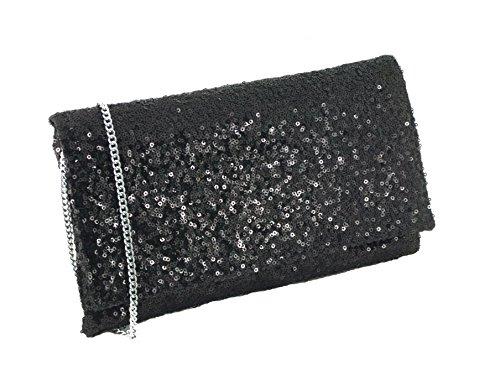 LONI Sparkly - Bolso de mano de fiesta con tira para hombro - negro