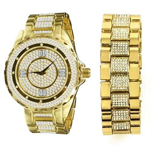 Juego de reloj y pulsera de oro amarillo de 14 quilates.