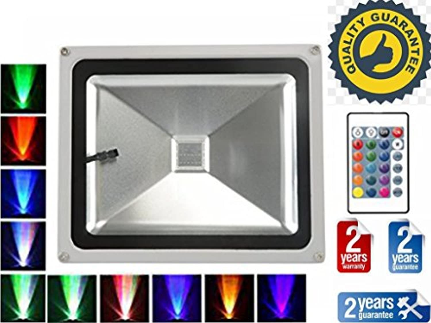 TDRSHINE RGB LED Flutlicht mit Fernbedienung, 16 Farben & 4 Modi, wasserdichte Outdoor Security Lights (30W)