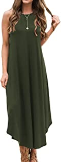 Women's Summer Casual Stripe Sleeveless Loose Beach Maxi Dress