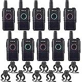 Retevis RT618 Mini Walkie Talkie con Altavoz en Hombro, Radio PTT Doble PMR446 Licencia Libre, USB Recargable de Emergencia Walkie Talkie Largo Alcance para Seguridad, Comercial(Negro, 10Piezas)