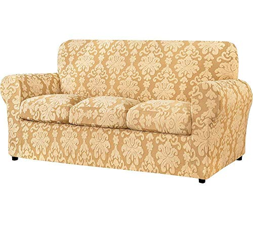 JJYY Funda de sofá con cojín Independiente, Protector de sofá de Sala de Estar de Tela de Damasco Jacquard, Elegante y Duradera Cubierta de Muebles de Tela elástica de Spandex, Buena opción para