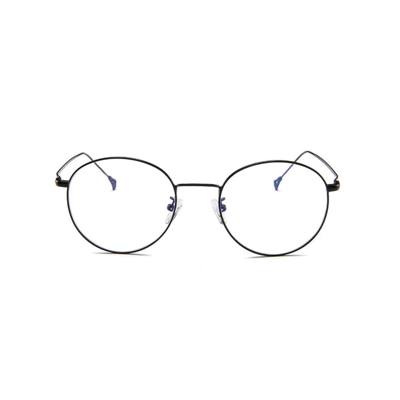 レンズ励起出します韓国のメガネフレームの男性と女性のレトロフラットメガネメタルトレンディメガネファッション近視メガネフレーム-ブラック
