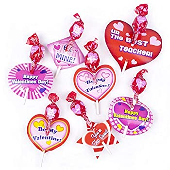 Valentines Day Candy Lollipops -25 Count with Heart Card stands -  Happy valentines day   So sweet  Be mine  HI Cutie   xxx  Good Friend  True Love  etc,