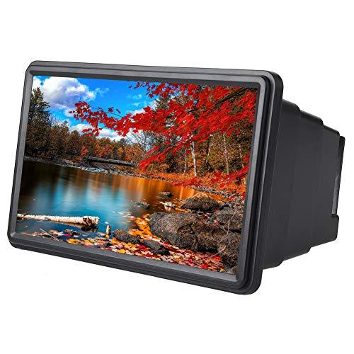 ASHATA Handy-Bildschirmverstärker, 12 Zoll 3D Einziehbar Mobile Phone Screen Projection Magnifier,Tragbar HD Display Verstärker Smartphone Vergrößerungslupe für Geschenk Kinder Camping(Schwarz)
