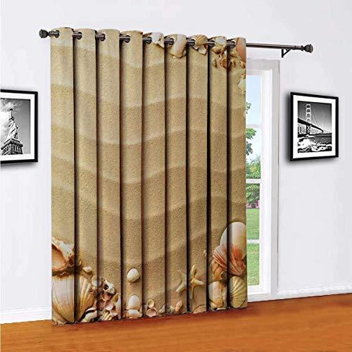 Toopeek Beach Seashell Starfish Partición de la cortina de la habitación, paneles aislados para cortina de patio, cortinas correderas (panel individual) de 96 x 96 pulgadas de ancho