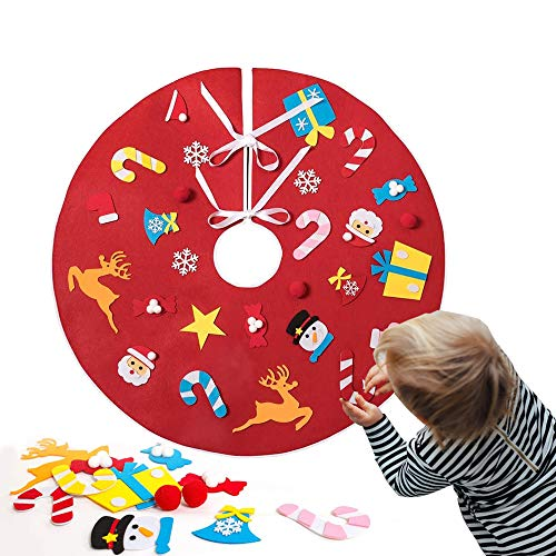 UMYMAYDO1 Christmas Tree Skirt, Felt Flat Xmas Tree Skirt Kits with 26pcs DIY Detachable Christmas Tree Ornaments for Toddlers Kids Christmas Holiday Decorations Gifts (Red)