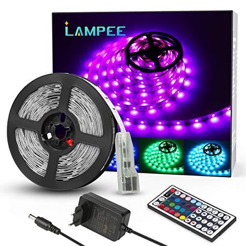 Lampee LED Strip RGB 5m LED Streifen SMD 5050 Leds mit Netzteil, Fernbedienung Led Lichtband für Wohnhaus,Küche und Deko Party