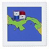 3dRose qs_47677_2 Flagge und Karte von Panama mit