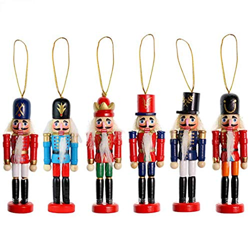 FORSHE Christmas Nutcracker Ornaments Set, Wooden Nutcracker Figures Soldier Puppet Toy for Christmas Themed Party Outdoor Yard Tree Hanging Decoration,6 Pack,5' Tall