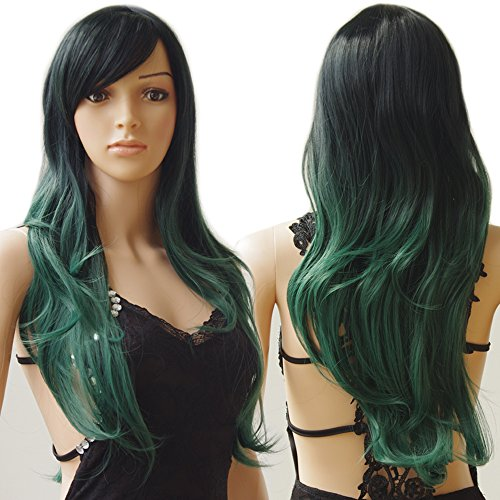 S-noilite Long Ombre Cosplay Hair Wigs Women Natural Wavy Heat Resistant Synthetic Dip Dye Full Wig with Bangs Colorful Party Costume (28inch, Black to Dark Green)